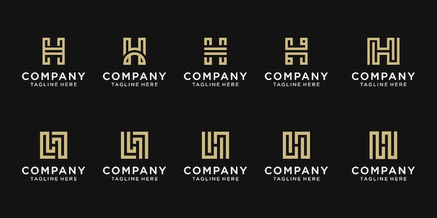 Conjunto de modelo de logotipo de letra h inicial da coleção.