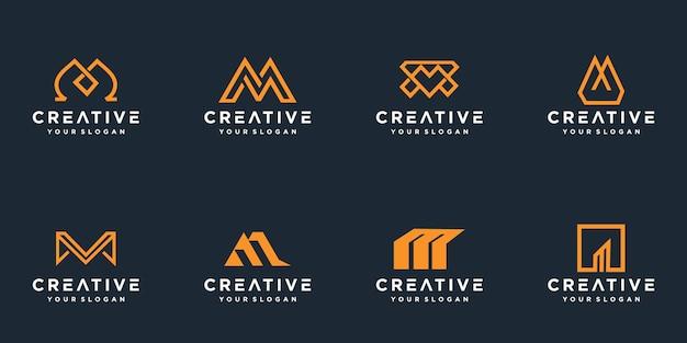 Conjunto de modelo de logotipo de letra m de monograma criativo.