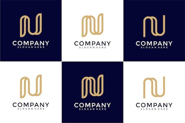 Conjunto de modelo de logotipo de letra n de monograma criativo