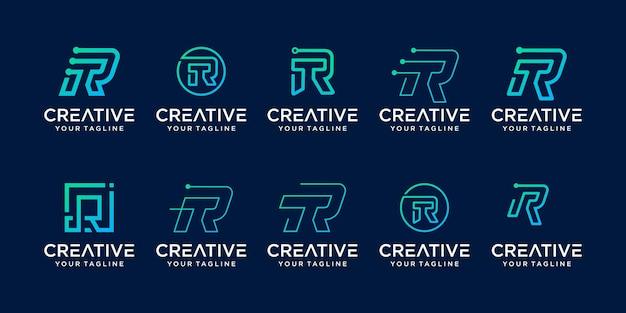 Conjunto de modelo de logotipo de letra r inicial da coleção.