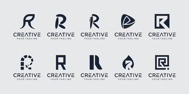 Conjunto de modelo de logotipo de letra r rr de monograma inicial. ícones para negócios da moda, esporte, automotivo.