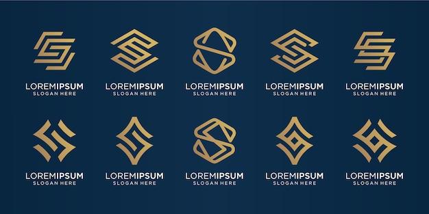 Conjunto de modelo de logotipo de letra s de monograma criativo