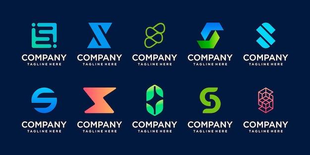 Conjunto de modelo de logotipo de letra s inicial da coleção.