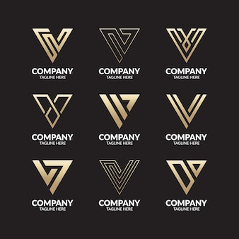 Conjunto de modelo de logotipo de letra v de monograma criativo