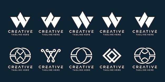 Conjunto de modelo de logotipo de letra w inicial.