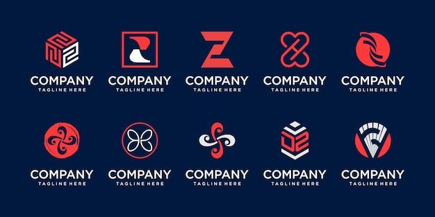 Conjunto de modelo de logotipo de letra z inicial da coleção.