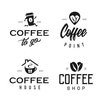 Conjunto de modelo de logotipo de loja de café