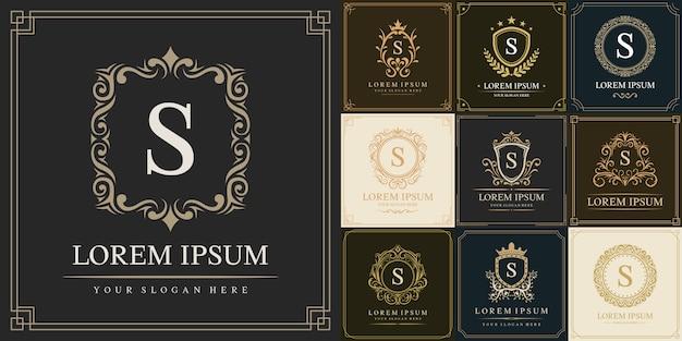 Conjunto de modelo de logotipo de luxo, letra inicial tipo s