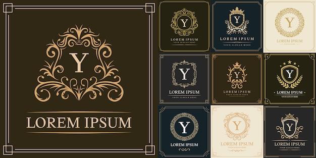 Conjunto de modelo de logotipo de luxo, letra inicial tipo y