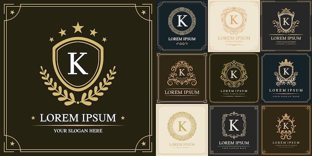 Conjunto de modelo de logotipo de luxo, tipo de letra inicial k
