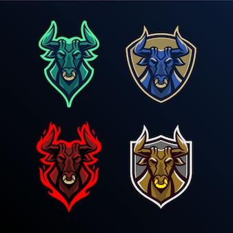 Conjunto de modelo de logotipo de mascote de cabeça de touro