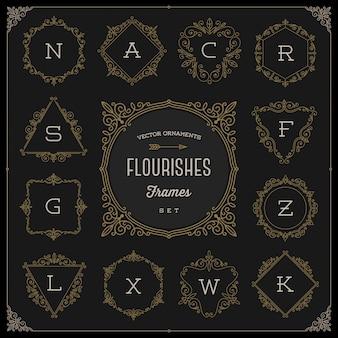Conjunto de modelo de logotipo de monograma com floreios caligráficos elegantes quadros de ornamento - ilustração