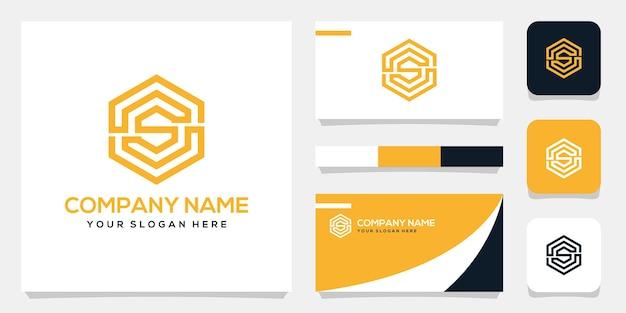 Conjunto de modelo de logotipo de monograma da letra s, design de cartão de visita