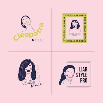 Conjunto de modelo de logotipo de mulher de moda desenhada mão. ilustração em vetor estilo doodle.