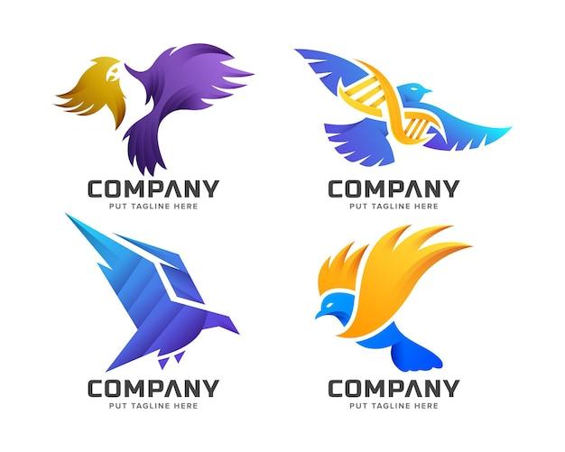 Conjunto de modelo de logotipo de pássaro colorido criativo de pacote
