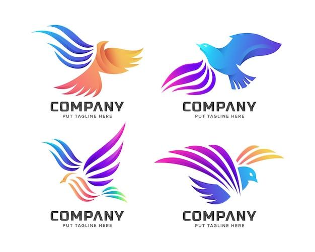 Conjunto de modelo de logotipo de pássaro colorido criativo voando