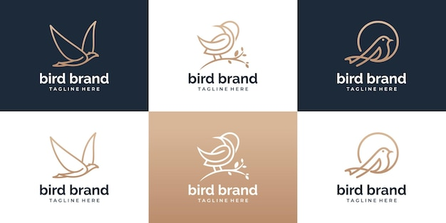 Conjunto de modelo de logotipo de pássaro com estilo de arte de linha. coleção de logotipo de pássaro abstrato criativo.