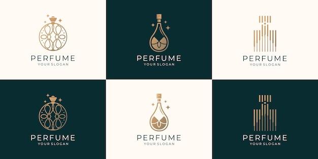 Conjunto de modelo de logotipo de perfume de frasco de luxo. logotipo para cosméticos, produtos de beleza, salão de beleza, cuidados com a pele.