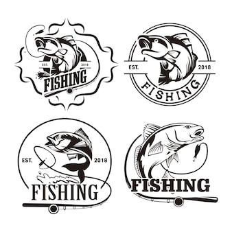 Conjunto de modelo de logotipo de pesca