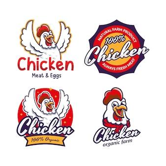 Conjunto de modelo de logotipo de restaurante de frango frito