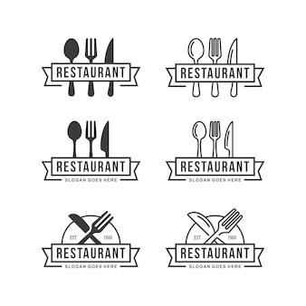 Conjunto de modelo de logotipo de restaurante