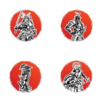 Conjunto de modelo de logotipo de samurai japonês