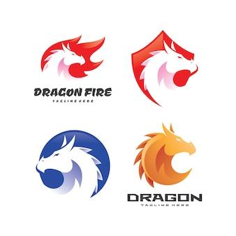 Conjunto de modelo de logotipo de serpente dragão