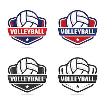 Conjunto de modelo de logotipo de voleibol