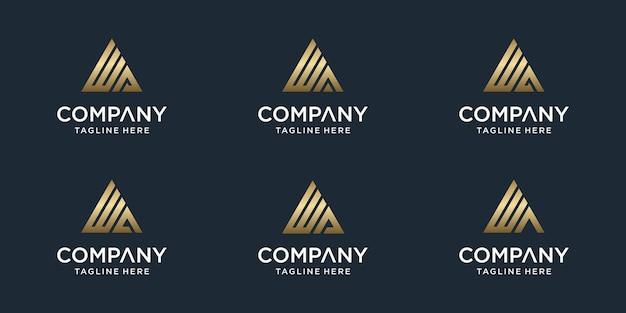 Conjunto de modelo de logotipo de wa de monograma abstrato criativo. logotipos para negócios de luxo, elegante, simples