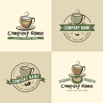 Conjunto de modelo de logotipo de xícara de café vintage para cafe. em fundo de cor verde ou verde-oliva e marrom
