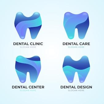 Conjunto de modelo de logotipo dentário gradiente