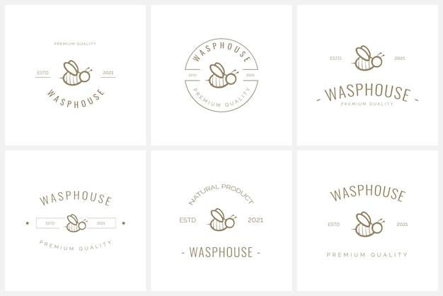 Conjunto de modelo de logotipo distintivo de abelha e mel