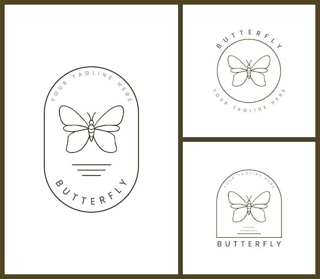 Conjunto de modelo de logotipo distintivo feminino para ilustrações de borboletas
