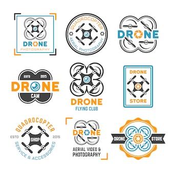 Conjunto de modelo de logotipo drone