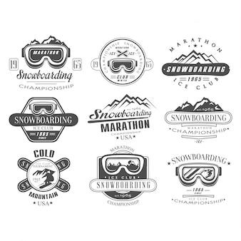 Conjunto de modelo de logotipo e etiqueta de snowboard
