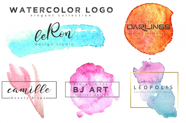 Conjunto de modelo de logotipo em aquarela