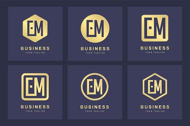 Conjunto de modelo de logotipo em em de letra inicial abstrato.