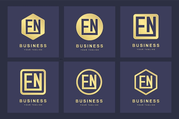 Conjunto de modelo de logotipo en en de letra inicial abstrata.