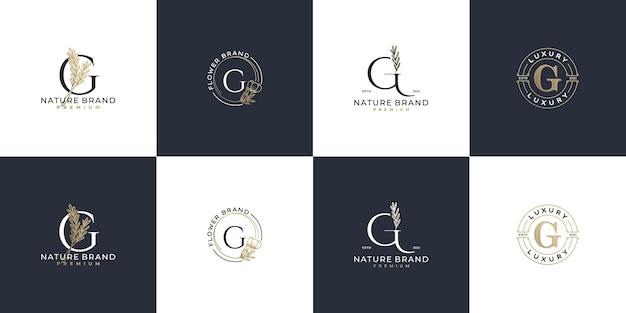 Conjunto de modelo de logotipo feminino de luxo com letra g inicial