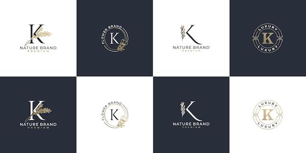 Conjunto de modelo de logotipo feminino de luxo com letra k inicial