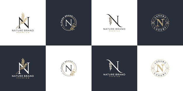 Conjunto de modelo de logotipo feminino de luxo com letra n inicial