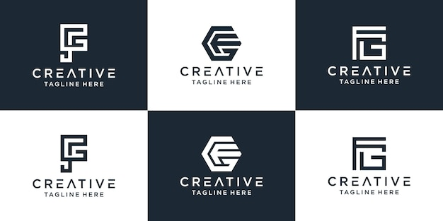 Conjunto de modelo de logotipo fg de letra de monograma criativo para empresas e empresa de construção