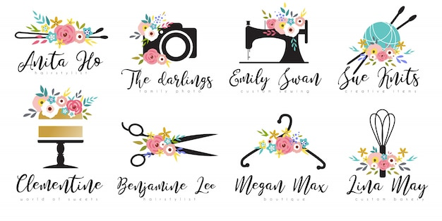 Conjunto de modelo de logotipo floral de empresa de pequeno porte