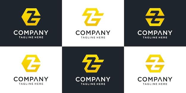 Conjunto de modelo de logotipo gz de letra inicial abstrata para negócios de moda, consultoria, construção, simples.
