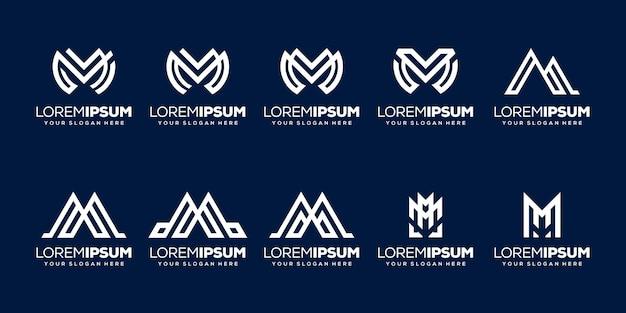 Conjunto de modelo de logotipo inicial com letra m