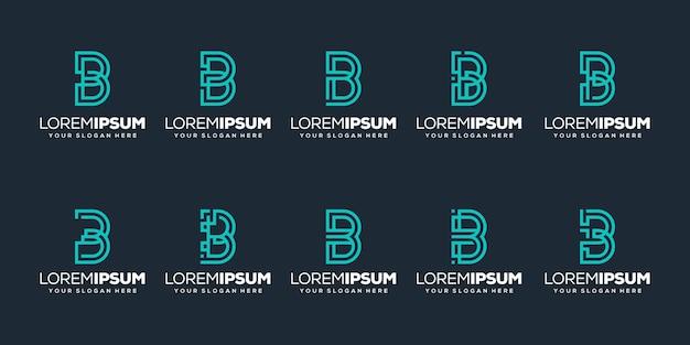 Conjunto de modelo de logotipo inicial da letra b