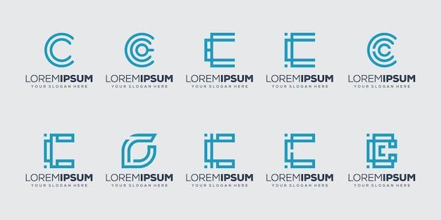 Conjunto de modelo de logotipo inicial da letra c