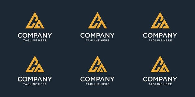 Conjunto de modelo de logotipo inicial de letra ca. ícones para negócios de esporte, automotivo, simples. vetor