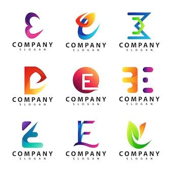 Conjunto de modelo de logotipo letra e