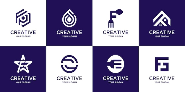 Conjunto de modelo de logotipo letra f inicial do monograma criativo